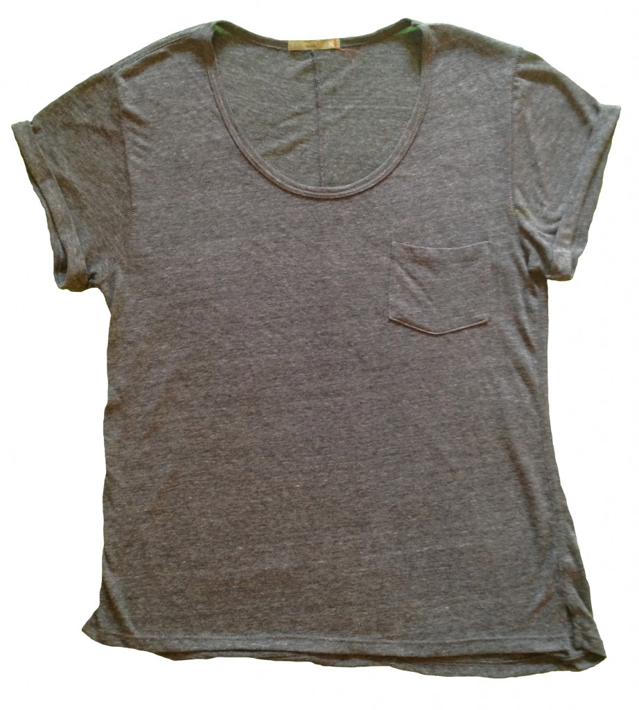Alternative Earth - gray pocket tee with rolled sleeve