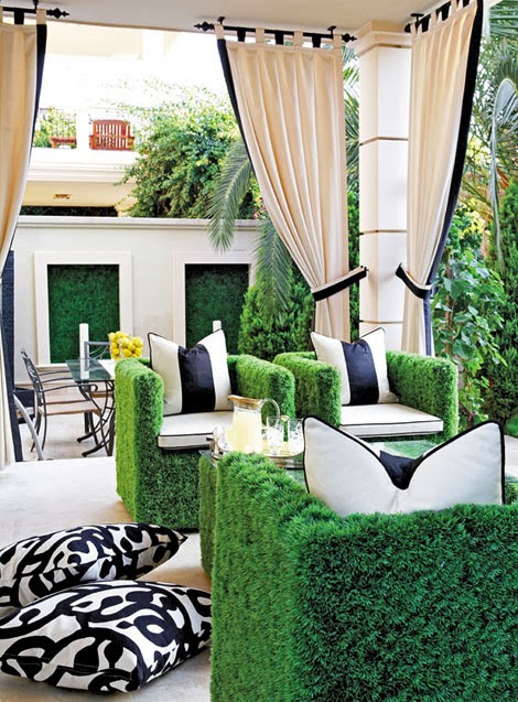 faux grass outdoor seating