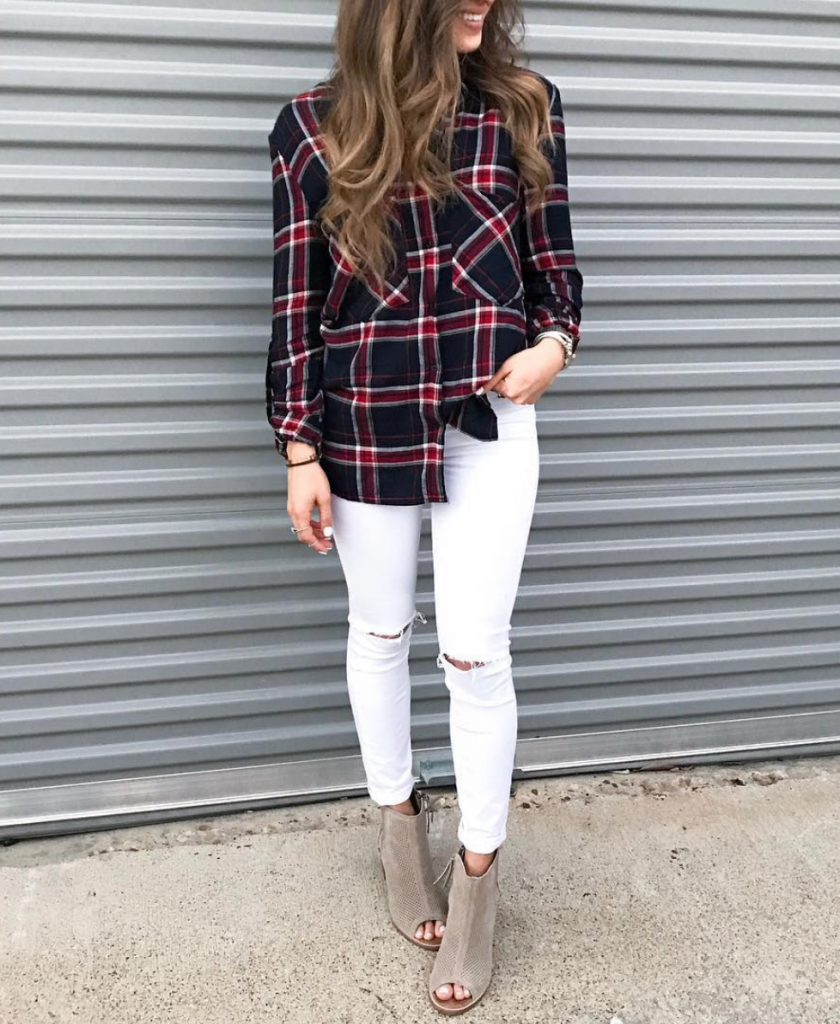 ad71594a44a3 Wear with leggings and hiking boots (pinterest) Pair a dark toned flannel  shirt with distressed white jeans and open-toe booties (instagram:  alexis.belbel) ...