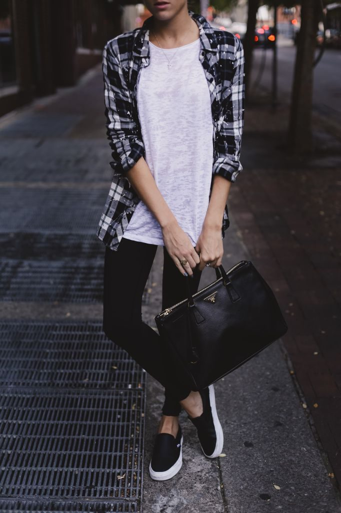 06f6c7ef41a8 Wear black and white plaid open over a white tee, black leggings and slip  on sneakers. Carry a large structured bag (thelocusofstyle.com) ...